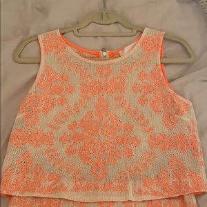 J.O.A. Cream and Coral Top
